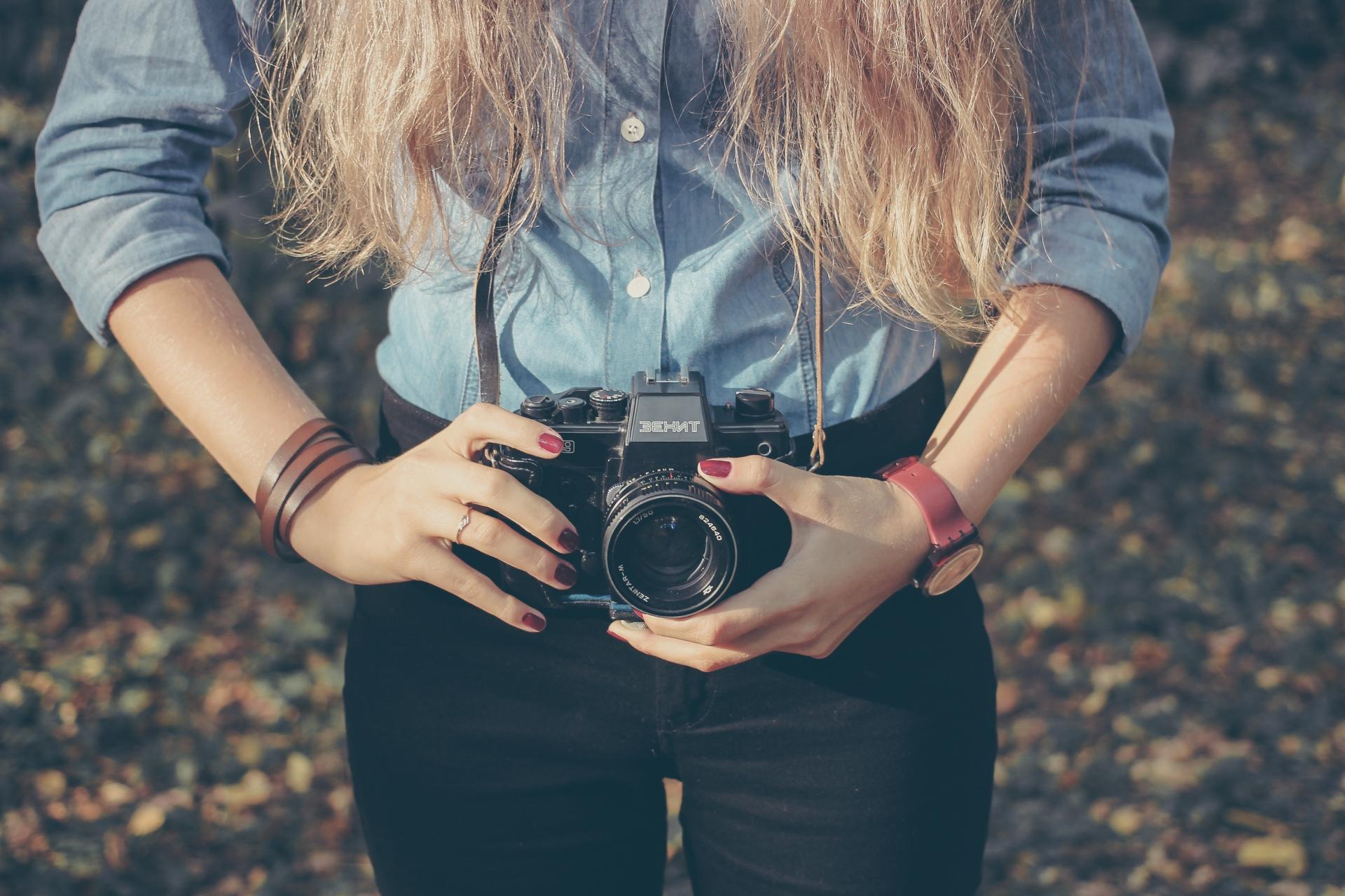 Camera around girl's neck